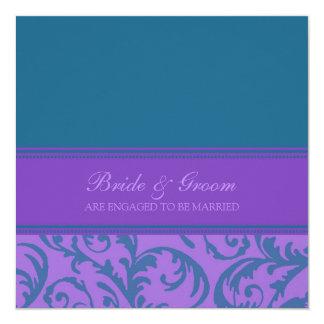 ティール(緑がかった色)および紫色の渦巻の婚約パーティの招待状 カード