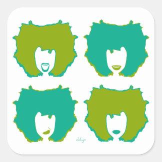 ティール(緑がかった色)および緑の4つの気分 スクエアシール