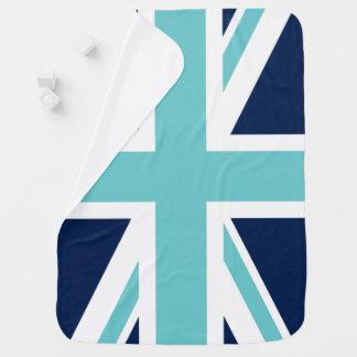 ティール(緑がかった色)および英国国旗の青い旗 ベビー ブランケット