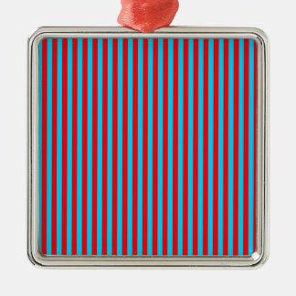 ティール(緑がかった色)および赤のストライプ メタルオーナメント
