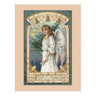 ティール(緑がかった色)および金ゴールドの白の天使 ポストカード