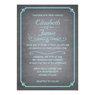 ティール(緑がかった色)および銀の黒板の結婚式招待状 12.7 X 17.8 インビテーションカード