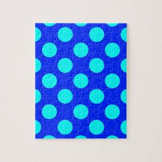 ティール(緑がかった色)および青い水玉模様 ジグソーパズル