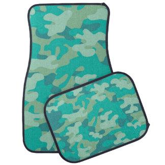 ティール(緑がかった色)および青い迷彩柄 カーマット