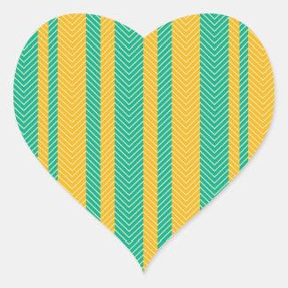 ティール(緑がかった色)および黄色いヘリンボンパターン ハートシール