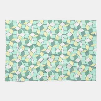 ティール(緑がかった色)および黄色いPenroseのタイルタオル キッチンタオル