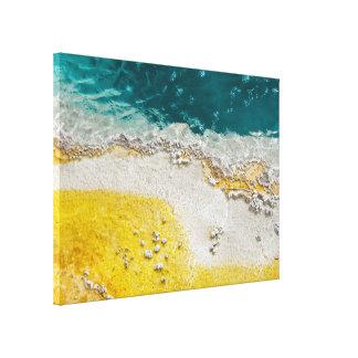 ティール(緑がかった色)および黄色のイエローストーンの抽象芸術 キャンバスプリント