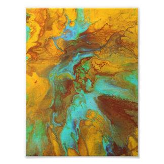 ティール(緑がかった色)および黄色の液体抽象芸術 フォトプリント