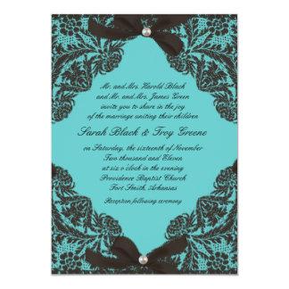 ティール(緑がかった色)および黒いレースの結婚式招待状 カード