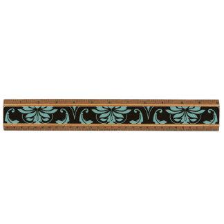 ティール(緑がかった色)および黒いヴィンテージのダマスク織パターン 定規
