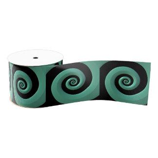 ティール(緑がかった色)か黒い螺線形のグログランリボンの6ヤードのスプール グログランリボン