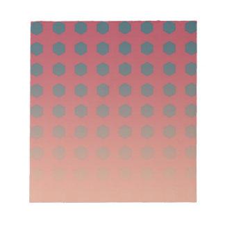 ティール(緑がかった色)とのピンクおよびモモの勾配 ノートパッド