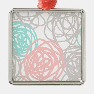 ティール(緑がかった色)と灰色そしてピンクパターンを走り書きします メタルオーナメント