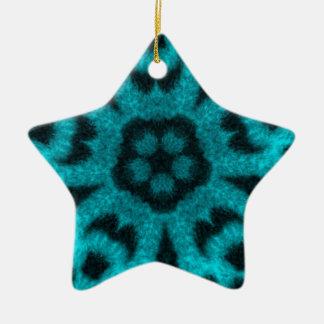 ティール(緑がかった色)によって斑点を付けられるヒョウの花の万華鏡のように千変万化するパターン セラミックオーナメント
