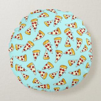 ティール(緑がかった色)のおもしろいなpepperoniピザパターンスケッチ ラウンドクッション