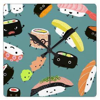 ティール(緑がかった色)のおもしろいの寿司のキャラクター(カスタマイズ可能な) スクエア壁時計