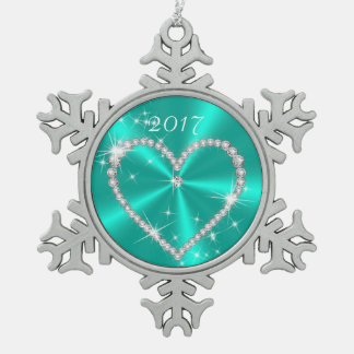 ティール(緑がかった色)のきらめくサテンのダイヤモンドのハート スノーフレークピューターオーナメント