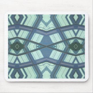 ティール(緑がかった色)のアクアマリンのコンテンポラリーな線形芸術 マウスパッド