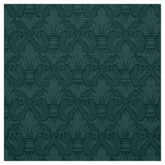 ティール(緑がかった色)のアヤメパターン生地 ファブリック