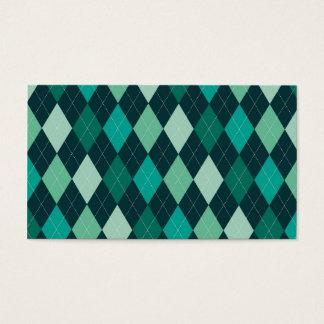 ティール(緑がかった色)のアーガイルパターン 名刺