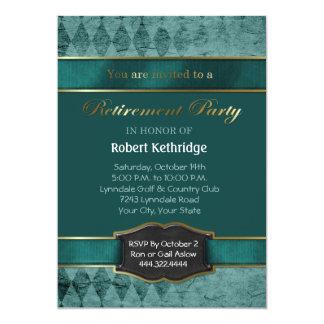 ティール(緑がかった色)のアーガイル柄のでクラシックな退職のパーティの招待状 カード