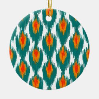 ティール(緑がかった色)のオレンジの抽象芸術の種族のイカットのダイヤモンドパターン セラミックオーナメント