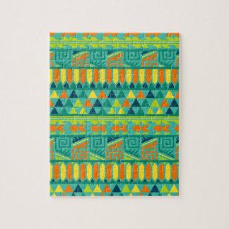 ティール(緑がかった色)のカラフルの抽象芸術のアステカな種族のプリントパターン ジグソーパズル