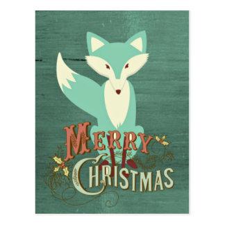ティール(緑がかった色)のキツネのメリークリスマスカード ポストカード