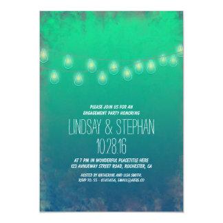 ティール(緑がかった色)のグラデーションなひもは婚約パーティの招待をつけます 12.7 X 17.8 インビテーションカード