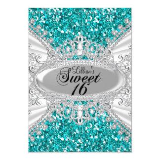 ティール(緑がかった色)のグリッター及びダイヤモンドのティアラの菓子16の招待 カード