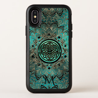 ティール(緑がかった色)のケルト結び目模様の曼荼羅のオッターボックスのiPhone Xの場合