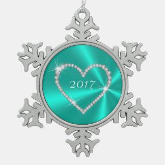 ティール(緑がかった色)のサテンのダイヤモンドのハート スノーフレークピューターオーナメント