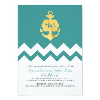 ティール(緑がかった色)のシェブロンの金ゴールドのいかりの航海のな婚約パーティ カード