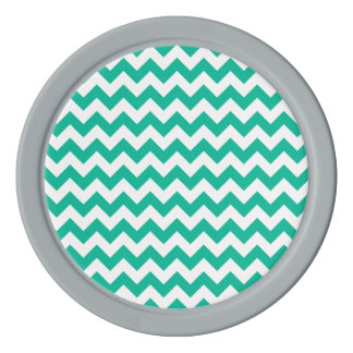 ティール(緑がかった色)のシェブロンパターン ポーカーチップ