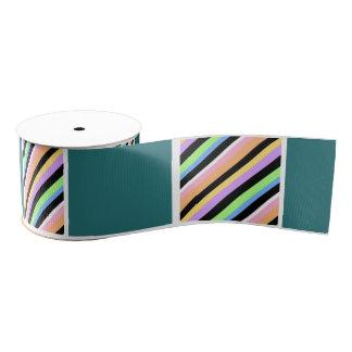 ティール(緑がかった色)のストライプなパターン グログランリボン