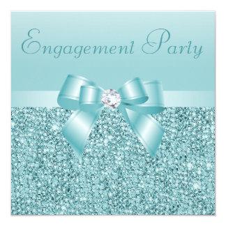 ティール(緑がかった色)のスパンコール、弓及びダイヤモンドの婚約パーティ 13.3 スクエアインビテーションカード