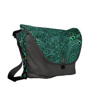 ティール(緑がかった色)のタコの触手のSteampunkのスタイルのフラクタルの芸術 メッセンジャーバッグ