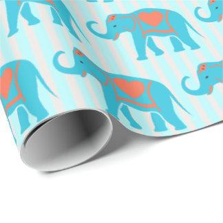 ティール(緑がかった色)のターコイズ、青い縞の青い象、 ラッピングペーパー