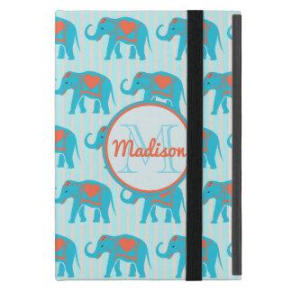 ティール(緑がかった色)のターコイズ、青い象、青い縞の名前 iPad MINI ケース