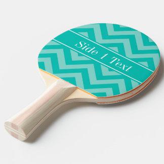 ティール(緑がかった色)のターコイズLGシェブロンのティール(緑がかった色)の名前のモノグラム 卓球ラケット