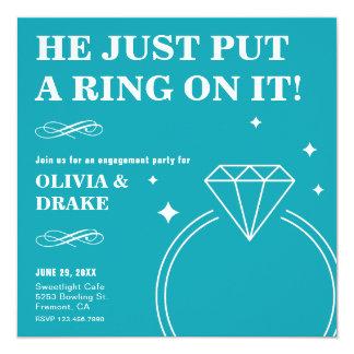 ティール(緑がかった色)のダイヤモンド指輪|の婚約パーティの招待状 13.3 スクエアインビテーションカード