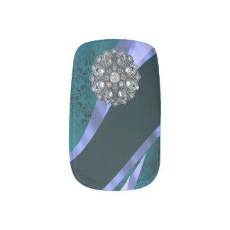 ティール(緑がかった色)のダマスク織のラインストーンパターン ネイルアート
