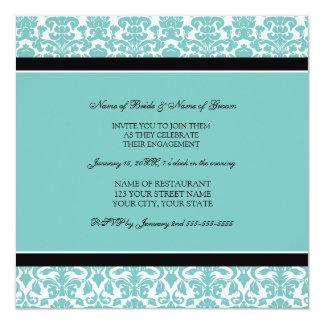 ティール(緑がかった色)のダマスク織の写真の婚約パーティの招待状 カード