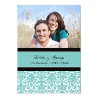 ティール(緑がかった色)のダマスク織の写真の婚約パーティの招待状 12.7 X 17.8 インビテーションカード