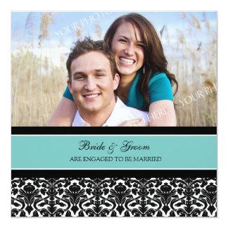 ティール(緑がかった色)のダマスク織の写真の婚約パーティの招待状 13.3 スクエアインビテーションカード