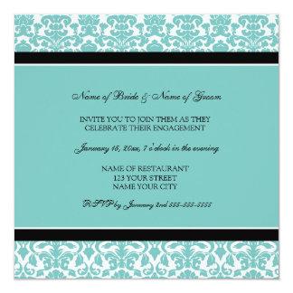 ティール(緑がかった色)のダマスク織の婚約パーティの招待状 カード