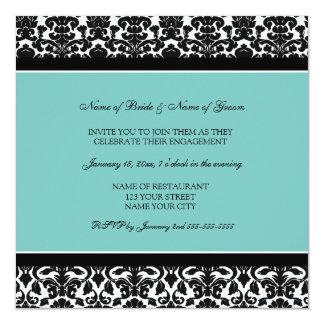 ティール(緑がかった色)のダマスク織の婚約パーティの招待状 13.3 スクエアインビテーションカード