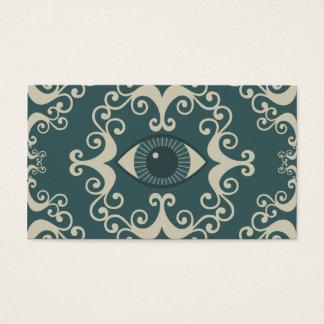ティール(緑がかった色)のダマスク織の眼球の霊魂の帯出券 名刺