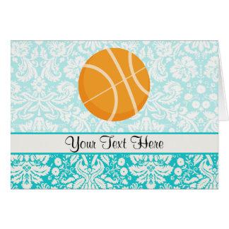 ティール(緑がかった色)のダマスク織のPattenのバスケットボール カード