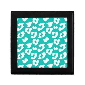 ティール(緑がかった色)のチータのヒョウのプリント ギフトボックス